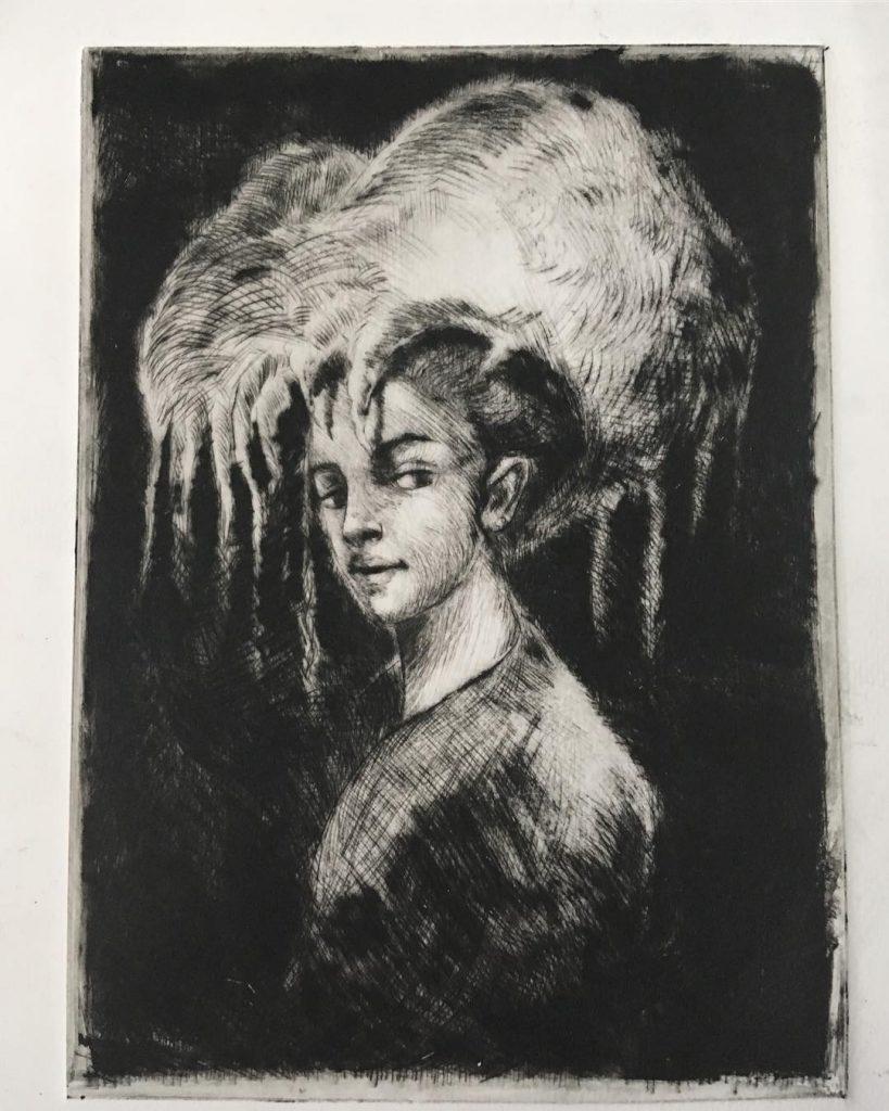 Pensiero Notturno - Drypoint Engraving - Proof of Printing - 2018 - 10x15 cm