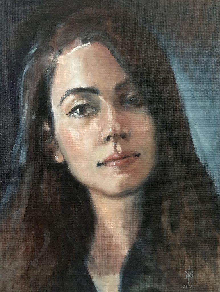 "The Poet ""Portrait Vanna"" - Oil on Canvas - 2018 - 30x40cm"