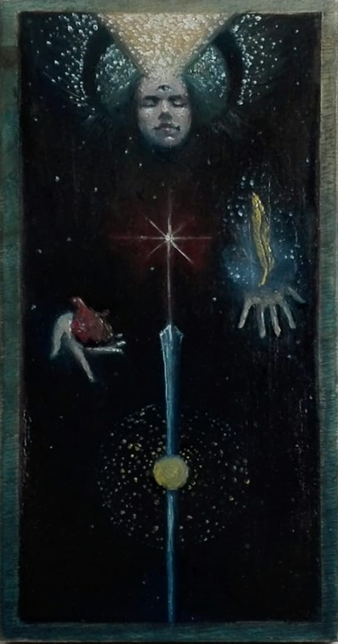 The Justice Major Arcane - Oil on Board - 2018 - 10x20 cm
