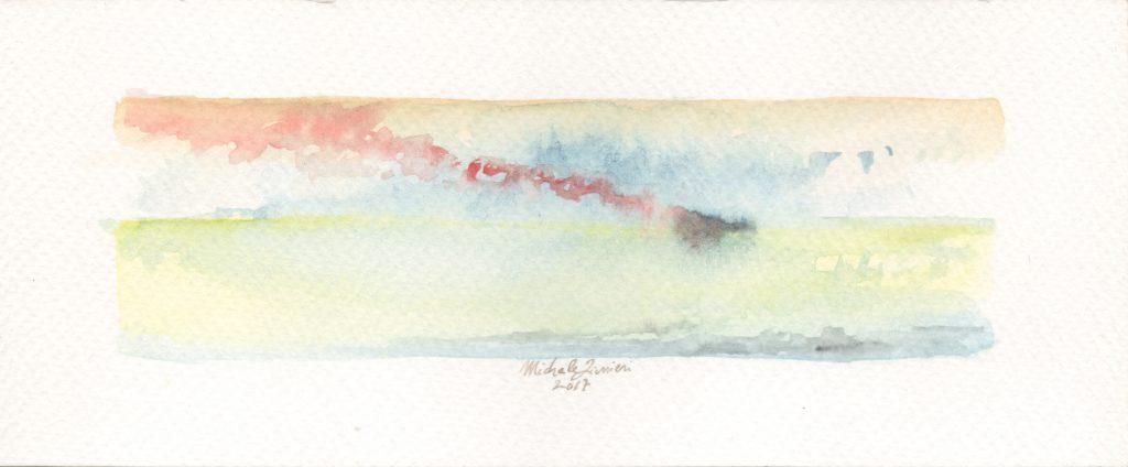 Red Smoke - Watercolor - 2017 - 16x5cm